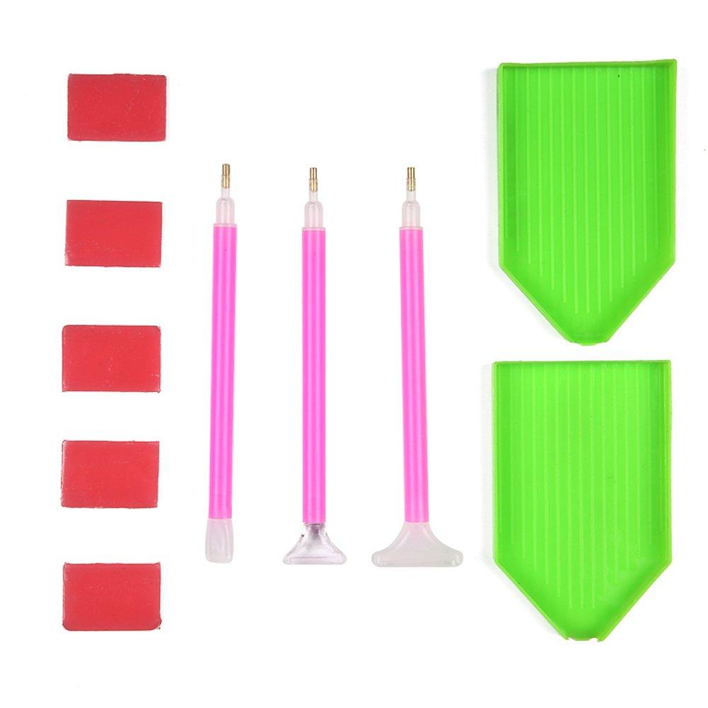 Smartcoco 10Pcs//Set 5D DIY Diamond Painting Cross Stitch Embroidery Tools Accessories Set 2 Diamond Painting Trays, 3 Pens, 5 Clays