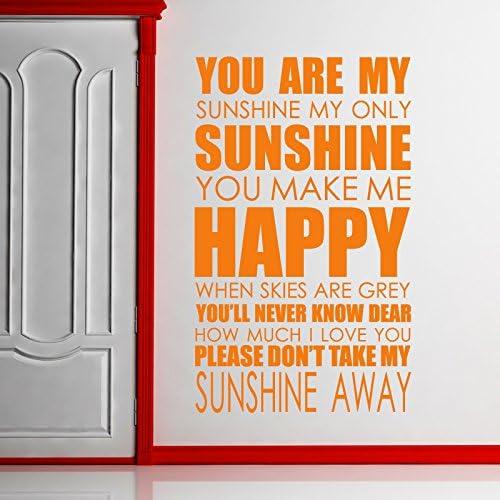You Are My sunshine wall art sticker Lyrics decal music quote l20