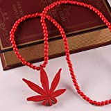 Libaraba Hiphop Wooden Leaf Pendant Necklace with Jewelry Box,Leaf Necklace for Women,Men (Yellow)