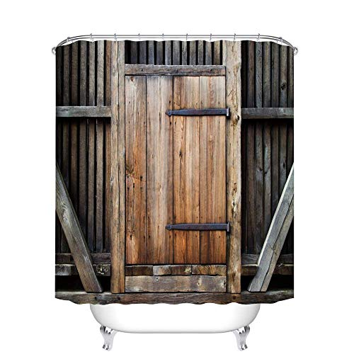 summer-M Barn Door Shower Curtain Decor Set - Rustic Antique Wooden Door Exterior Facades Rural Oak Timber Weathered Picture - Polyester Bath Curtains - 12pcs Shower Hooks (YL157#, 60W X 72L Inches)