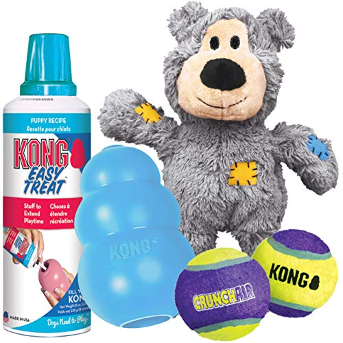 KONG – Puppy Starter Dog Toy Kit – Blue Toy for Medium Puppies
