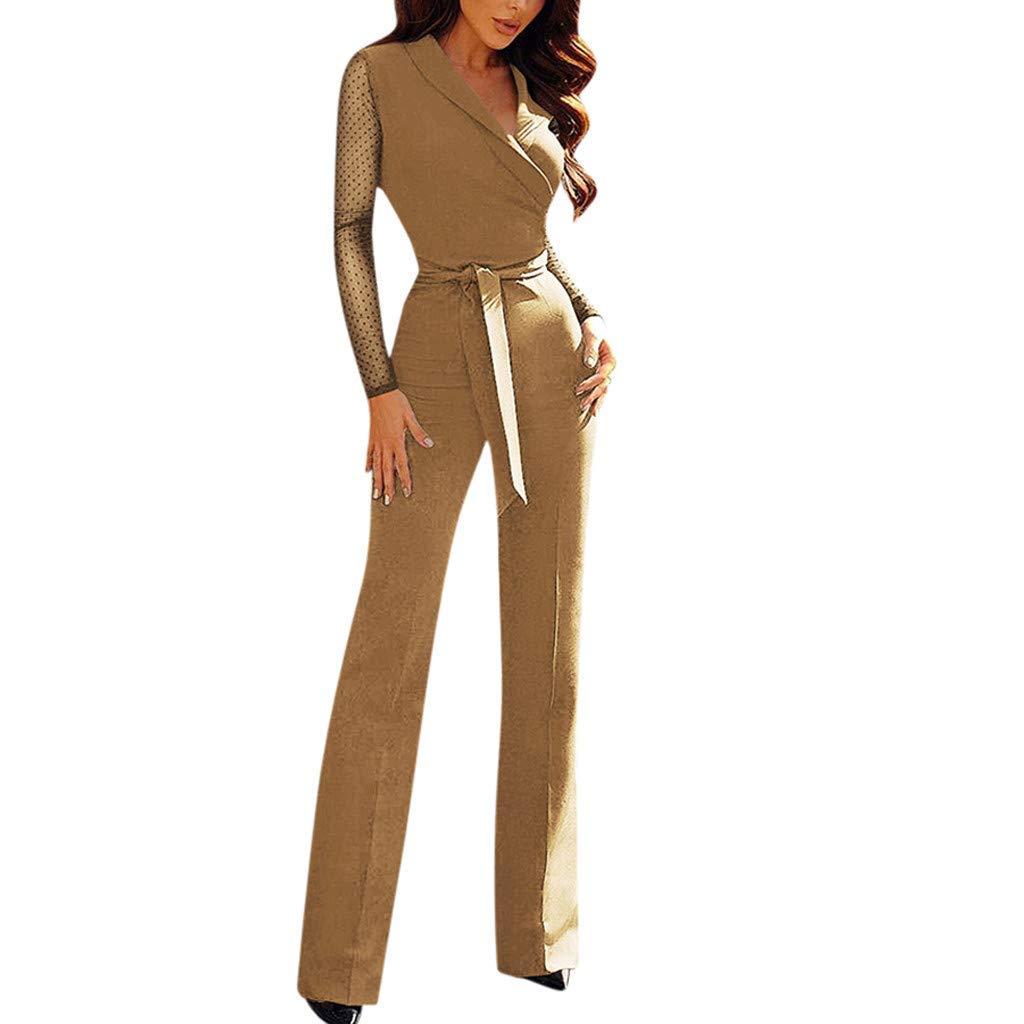 GWshop Ladies Fashion Elegant Jumpsuit Ladies Jumpsuits for Evening Wear, V-Neck Long Sleeve Playsuit Wide Leg Romper Khaki S