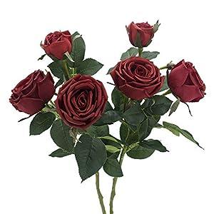 WILL STUDIO 3 Heads Artificial Rose Silk Flower. Home Garden Party Wedding Decoration .2Pcs (Red) 104
