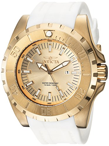 Men's 'Pro Diver' Quartz Stainless Steel and Polyurethane Casual Watch, Color:Gold (Model: ) - Invicta 23740