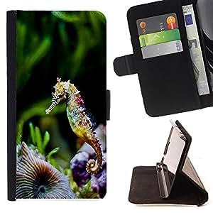 King Art - Premium-PU-Leder-Prima caja de la PU billetera de cuero con ranuras para tarjetas, efectivo Compartimiento desmontable y correa para la mu?eca FOR LG OPTIMUS L90- Hippocampus