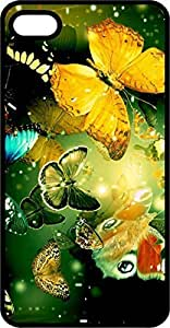 Beautiful Butterflies Black Plastic For Apple Iphone 4/4S Case Cover