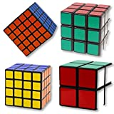 Speed Cube Bundle Magic Cube Puzzle Set 2x2 3x3 4x4 5x5 Sticker Cube Collection Black