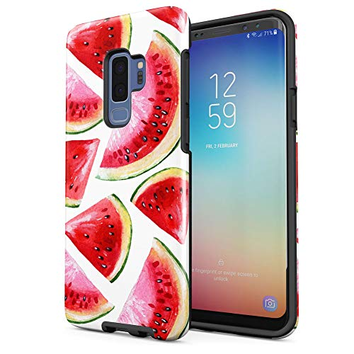 (Watermelons Watercolor Tropical Aloha Hawaii Fruity Print Pattern Tumblr Samsung Galaxy S9 Plus Silicone Inner/Outer Hard PC Shell Hybrid Armor Protective Case Cover)