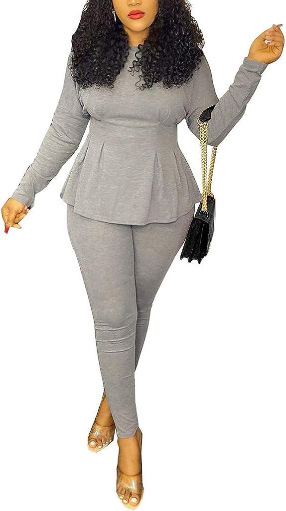 OLUOLIN Women's Elegant 2 Piece Blazer Suit Deep V Neck Ruffle Top Bodycon Long Pant Set with Belt…
