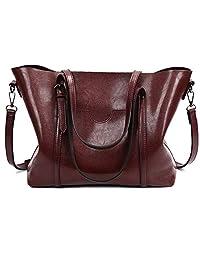 STARSCITY Fashion Top Handle Satchel Handbags for Women Shoulder Bag Tote Purse Large Capacity Black Crossbody Bags Brown Tote Designer Bag Casual Pu Leather Tote Bag