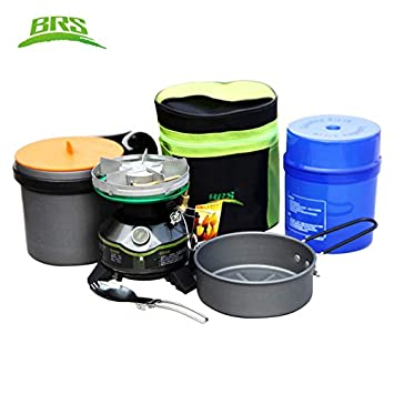 BRS BRS-28T Stainless Steel Gasoline Stove +Spoon Pot Portable Camping Equipment Barbecue Cookware