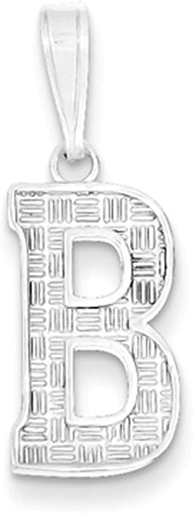 Sami Collection Textured Block Initial T Pendant Sterling Silver