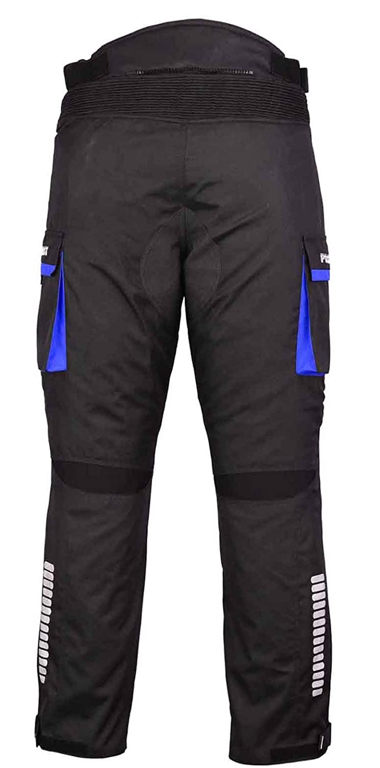 Blue - XS to 4XL Removable Lining PROFIRST TR-001 Long Length Inside Leg 32 inch Big Pocket Design CE Approved Armoured Motorbike Motorcycle Trouser Pant Waterproof