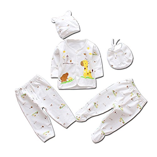 5pcs Newborn Baby Clothes Unisex Infant Outfits Layette Set With Animals Giraffe Elephant(Yellow)