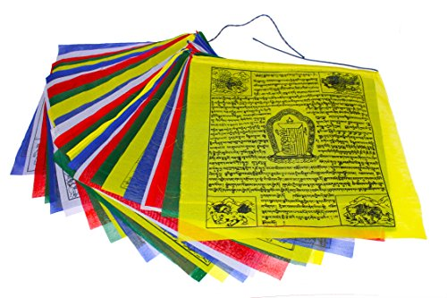 Flags Prayer Make Tibetan (Juccini Large Tibetan Tranquil Wind Horse Lungta Prayer Flags - Buddhist Flags (Large-Roll of 25(10