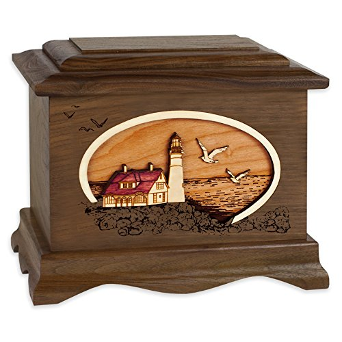 (Wooden Cremation Urn - Ambassador Shape with Coastal Lighthouse 3-Dimensional Inlay Wood Art Memorial - Funeral Urns for Adults (Portland Head Light, Walnut))