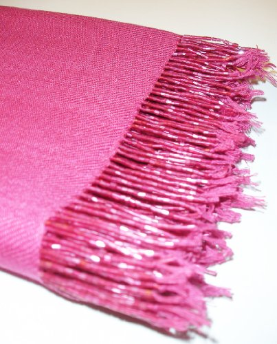 Beaded Silk Wrap (Kuldip Unisex Factory Seconds Hand Beaded Pashmina Scarf Shawl Wrap Throw Rich Pink)