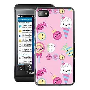 A-type Arte & diseño plástico duro Fundas Cover Cubre Hard Case Cover para Blackberry Z10 (Ice Cream Candy Pink Sweets Lollipop)