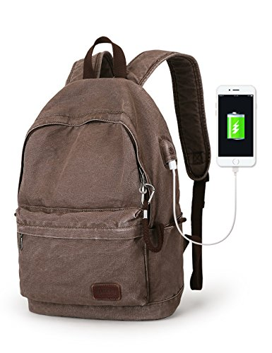 Muzee Canvas Backpack With USB Charging Port For Men Women, Lightweight Anti-theft Travel Daypack College Student Rucksack backpack Fits up to 15.6 inch Laptop Backpack Coffee by Muzee