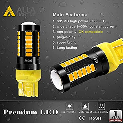 Alla Lighting 2800lm 7440 7443 LED Bulbs Xtreme Super Bright T20 7441 7442 7444NAK 7443LL LED Bulb 5730 33-SMD Car Truck Turn Signal Blinker Lights Replacement, Amber Yellow: Automotive