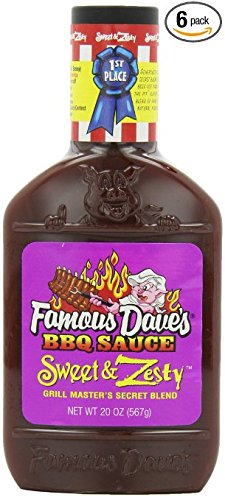 Famous Dave's Sweet & Zesty BBQ Sauce, 20 oz (Pack of 3)