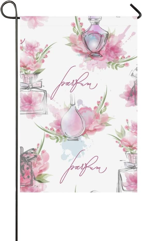 MOVTBA Home Decorative Outdoor Double Sided Perfume Romantic Scent Design Retro Color Garden Flag,House Yard Flag,Garden Yard Decorations,Seasonal Welcome Outdoor Flag 12 X 18 Inch Spring Summer Gift