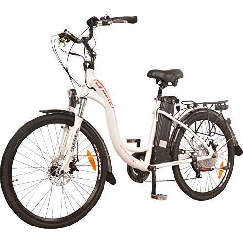 DJ City Bike 500W 48V 13Ah Step-Thru Electric Bicycle, 7-Speed, Samsung Lithium-Ion Battery, Pearl White, LED Bike Light, Full Suspension And Shimano Gear