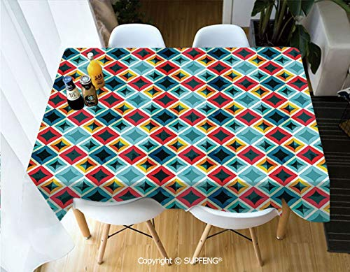 (Picnic Tablecloth Grunge Colorful Mosaic Diagonal Artsy Squares Frame with Crystal Effects Image Decorative (55 X 72 inch) Great for Buffet Table, Parties, Holiday Dinner, Wedding & More.Desktop Deco)