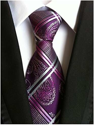 Allbebe Men's Fashion Purple Jacquard Woven Silk Tie Microfiber Formal Necktie
