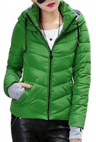 Thicken today Zipper Coat Slim Hoodie Solid UK Winter Women Green Puffer Warm Fit rqtrg