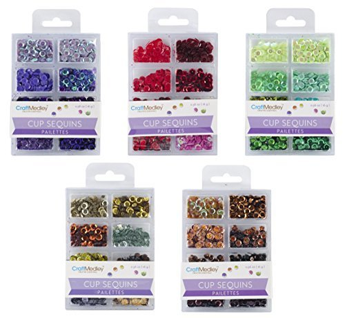 CraftMedley - Cup Sequins 7mm - Go Green, Box of Chocolate, Viola, Dazzling Metallics and Rouge - 5 kits ()