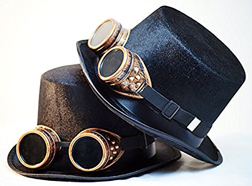 [STEAMPUNK-GOTHIC-Victorian-Edwardian-LARP-WHITBY-BUDGET TOP HAT WITH ATTACHED BRASS COLOURED PLASTIC GOGGLES by CL] (Larp Costumes Uk)