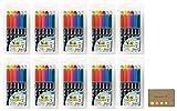 Kuretake Fudebiyori Bush Pen, 12 Colors Set,, 10-pack, Sticky Notes Value Set