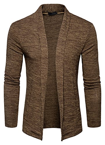 Collar Cardigan Sweater (Whatlees Mens Casual Long Sleeve Open Front Slim Fit Shawl Collar Cardigans Sweater B939-Brown-XL)