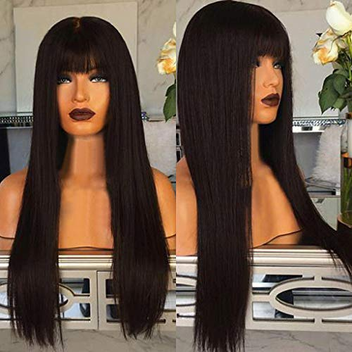 (Euone Wig, Fashion Synthetic Long Black Straight Natural Hair Full Wigs for)