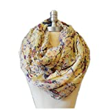 SCARF_TRADINGINC Floral Butterfly Bird Dragonfly Light Weight X-large Infinity Scarf (Bird & Floral Beige)