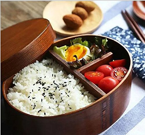 meizhouer Japanese bento boxes wood lunch box handmade natural wooden sushi box tableware bowl Food Container ()