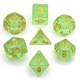 Hddais Polyhedral Green Dice Set with with Color
