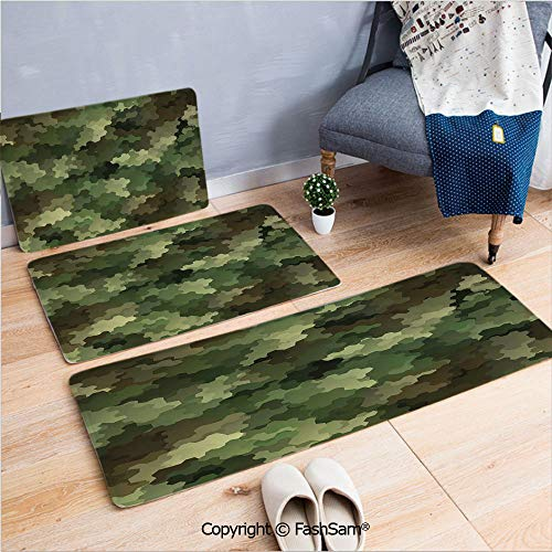 FashSam 3 Piece Flannel Bath Carpet Non Slip Frosted Glass Effect Hexagonal Abstract Being Invisible Woodland Army Front Door Mats Rugs for Home(W15.7xL23.6 by W19.6xL31.5 by - Imprinted Frosted Glass