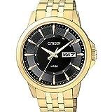 Citizen BF2013-56E Quartz Mens Day/Date Watch - Gold-Tone Case - Black Dial