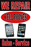 """Poster Sign Advertising 24""""X36"""" We Repair Cell Phones"""" Iphone repairs - service"""