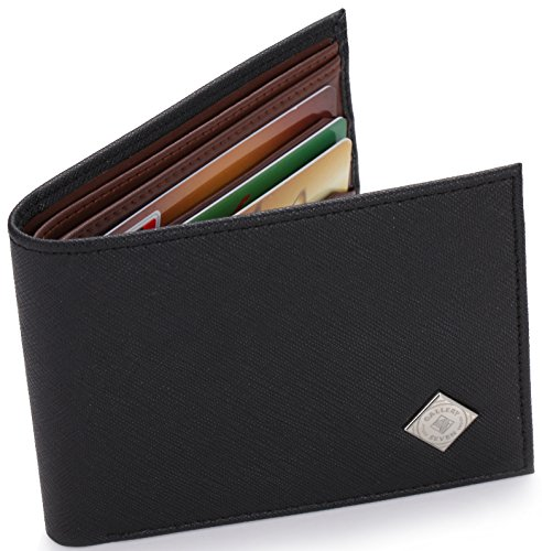 Gallery Seven RFID Blocking Wallet, Faux Leather Wallet Men, Vegan Leather, Bifold Slim Wallet, Enclosed In An Elegant Gift Box - Black/Brown - One Size by Gallery Seven (Image #4)