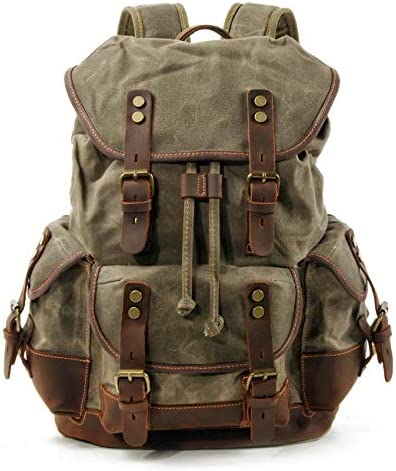WUDON Men Travel Backpack, Genuine Leather-Waxed Canvas Shoulder Hiking Rucksack