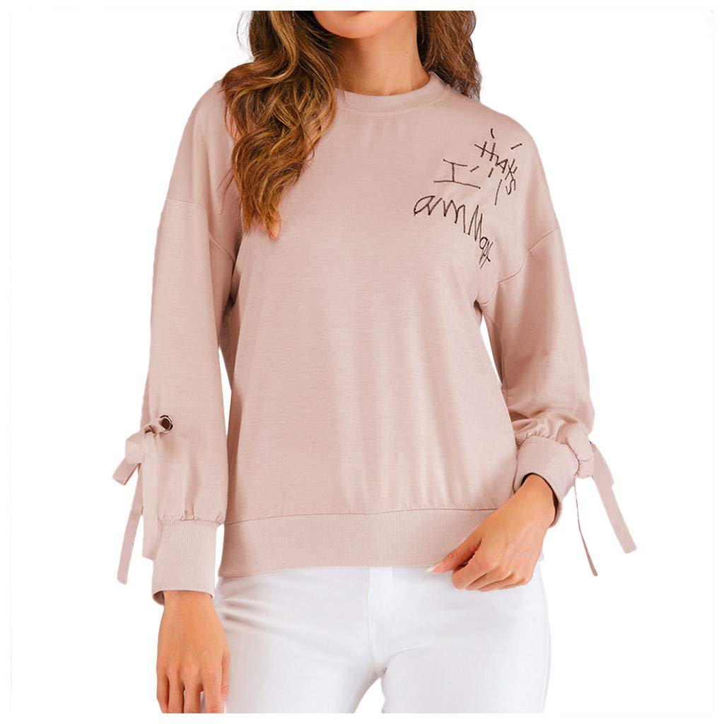 Badymin Women Fashion Letter Printed Pullovers Long Sleeves Loose Casual Top Blouse Pink by Badymin
