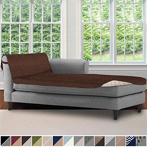 Sofa Shield Original Patent Pending Reversible Sofa Chaise Protector, 102x34 Inch, Washable Furniture Protector, 2 Inch Strap, Chaise Lounge Slip Cover for Pets, Dogs, Kids, Cats, Chocolate Beige (Sectionals For Covers Sofa Slip)