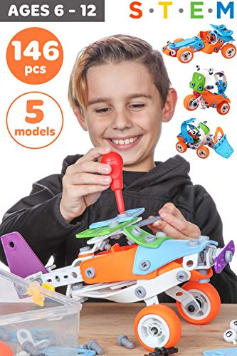Toy Pal STEM Toys for 7 Year Olds Boys | Educational Kids Building Toys for Boys Toys Age 6 7 8 | Best Toy Gifts for 6 7 8 9 10 Year Old Boys Gifts | 146 Pc Engineering STEM Kit for Boy Toy Age 7