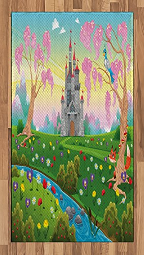 Lunarable Cartoon Area Rug, Fairy Tale Castle Scenery in Floral Garden Princess Kids Girls Fantasy Picture, Flat Woven Accent Rug for Living Room Bedroom Dining Room, 2.6 x 5 FT, ()