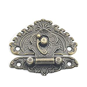 fujiyuan 5Pcs Gancho, diseño de Love Lock Catch Caja de madera 48mmx55mm Trunk Maleta decorativa Aldaba de los muebles Tornillos de regalo de joyería