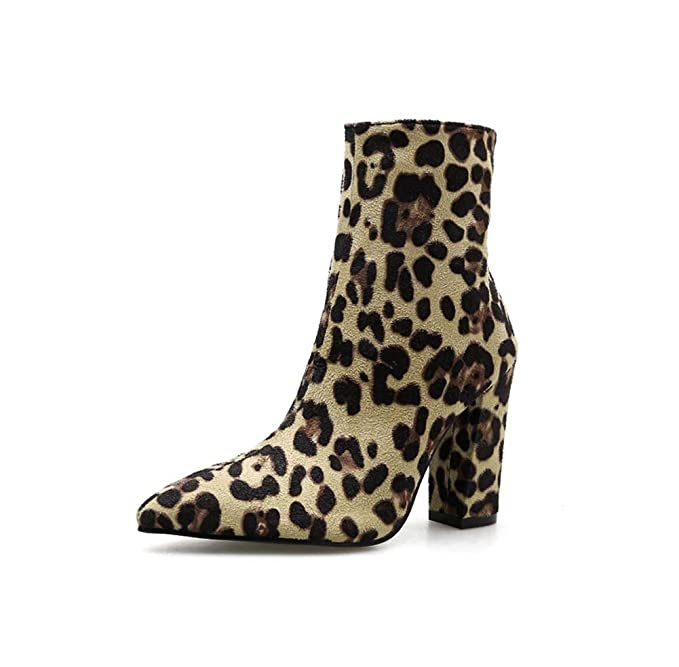 a5e8c0f4626 Amazon.com  HYLFF Women Leopard Dot Print Toe Zip Belt Buckle Thick Pointed  Booties Shoes Boots Ladies Martin Ankle Boots  Sports   Outdoors