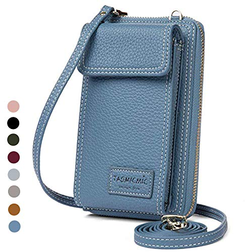 Women Purse Leather Cellphone Holster Wallet Case Mini Small Crossbody Shoulder Bag Messenger Pouch Ladies Handbag Clutch Phone Pockets for iPhone 8 Plus Xs Max X Xr 7/6 Plus Samsung S10+ (Turquoise)